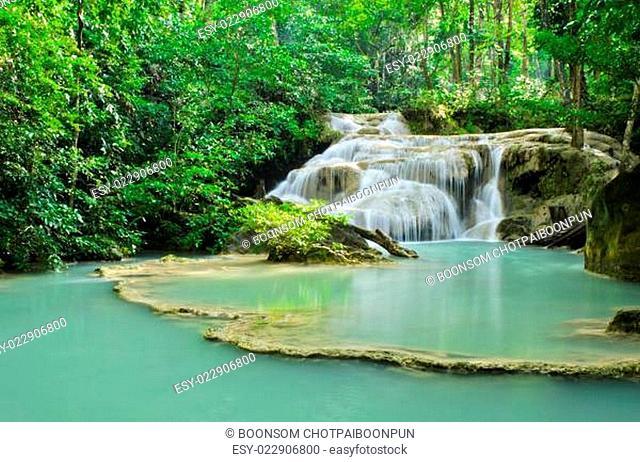 Beautiful waterfall in Erawan National Park, Thailand
