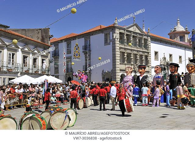 Traditional big-headed masks of Minho at the historical centre of Viana do Castelo. Our Lady of Agony Festivities, the biggest traditional festival in Portugal
