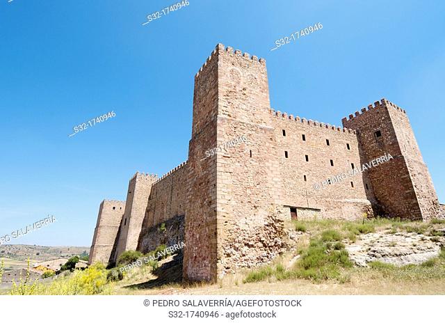 exterior view of the castle of Siguenza, of Arab origin was built in the 12th century is now Parador Nacional de Turismo, Guadalajara, Castilla La Mancha, Spain