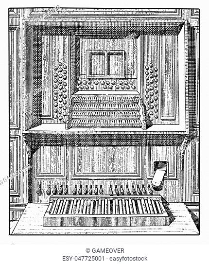Representation of a wooden pipe organ console with plenty of keyboards, registers and pedals, XIX century engraving
