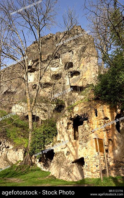 Perrier caves near Issoire, Puy de Dome department, Auvergne-Rhone-Alpes, France, Europe
