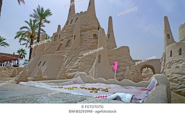 feudal sand castle at the beach, Spain, Balearen, Majorca, Alcudia