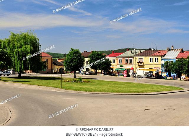 City market in Chentshin, Swietokrzyskie Voivodeship, Poland. The city was first mentioned in historical documents from 1275