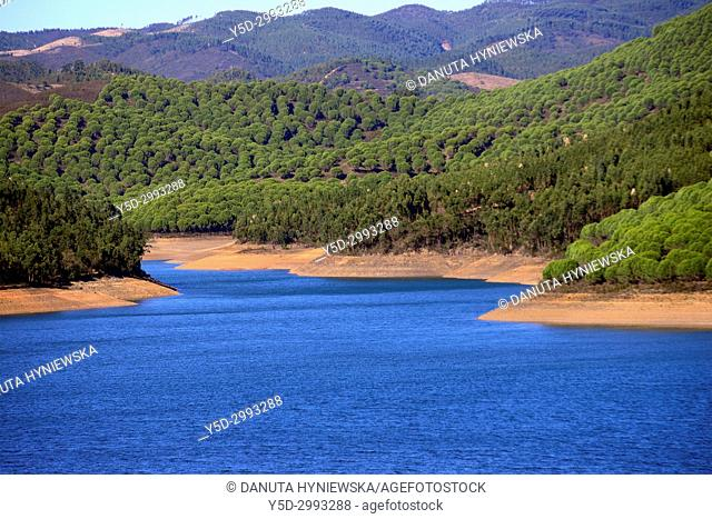 Albufeira da Barragem de Odiáxere, Barragem da Bravura, Bravura Dam, Bravura Lake, built on Odiáxere river in the late 1958 to help relieve water shortages on...