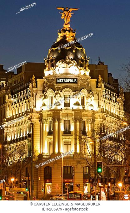 Metropolis building at Gran Via at dusk, Madrid, Spain