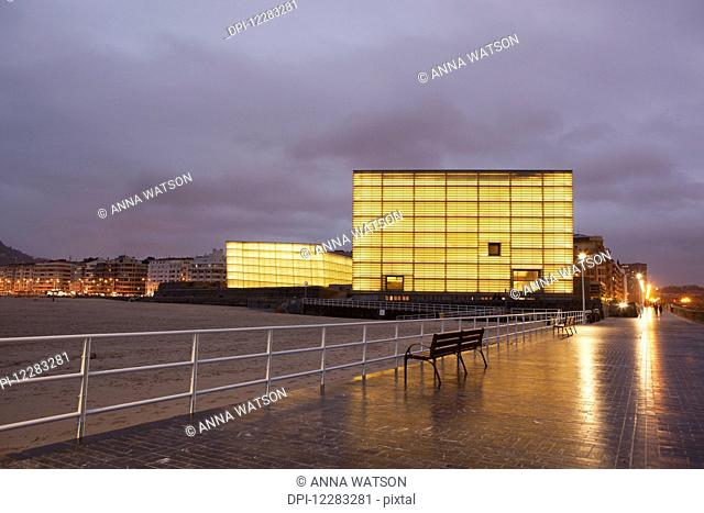 The two glass cubes of the Kursaal, cultural centre, which rise next to the Rio Urumea and the Zurriola beach in the Gros district of the city; San Sebastian