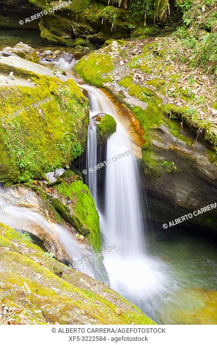 Waterfall, Trek to Annapurna Base Camp, Annapurna Conservation Area, Himalaya, Nepal, Asia