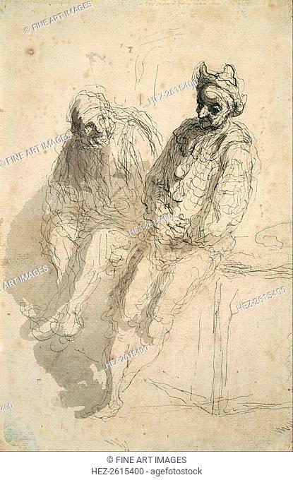 Two Saltimbanques (Deux saltimbanques). Artist: Daumier, Honoré (1808-1879)