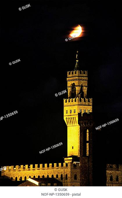 Palazzo Vecchio in moonlight, Florence, Italy
