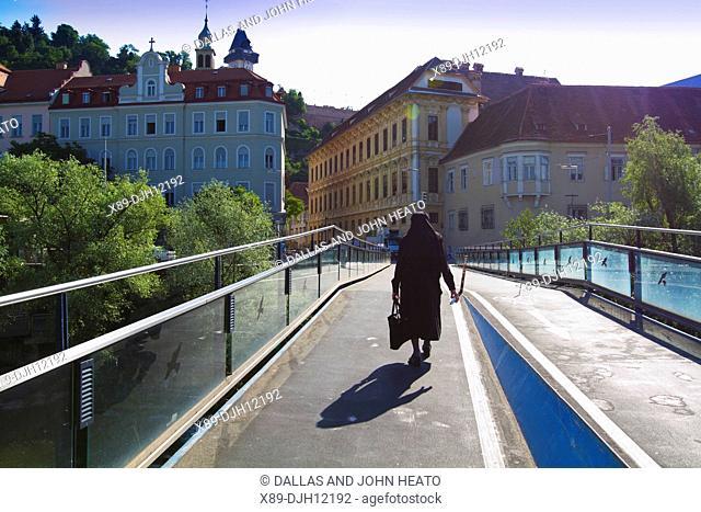 Austria, Styria, Graz, Hauptbrucke, Clock Tower