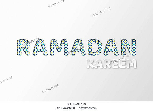 Ramadan Kareem typography design with 3d paper cut letters and geometric pattern in muslim traditional style. White background. Vector illustration