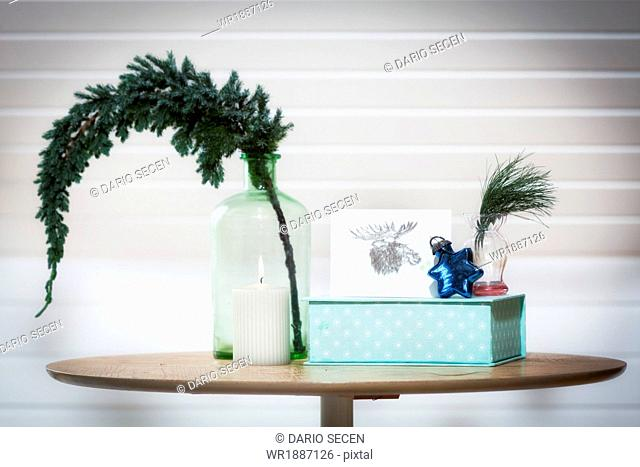 Christmas decoration on a table, Bavaria, Munich, Germany