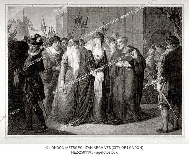 Lady Jane Grey being led to her execution at the Tower of London, 1554 (1797). A grandniece of Henry VIII, Lady Jane Grey (1537-1554) was proclaimed queen on...