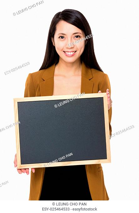 Asian businesswoman show with chalkboard