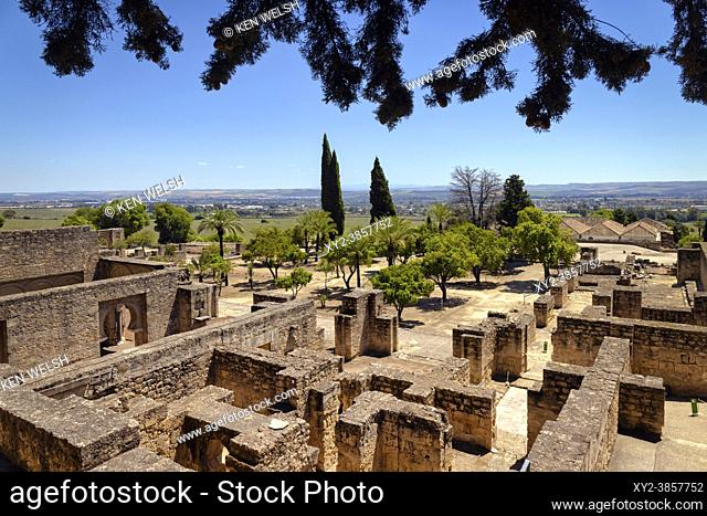 Overall view of the Upper Level in the 10th century fortified palace and city of Medina Azahara, also known as Madinat al-Zahra, Cordoba Province, Spain