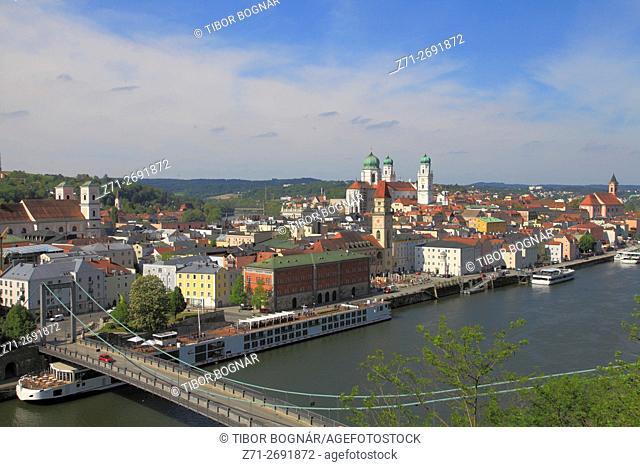 Germany, Bavaria, Passau, aerial view, skyline, Danube River,