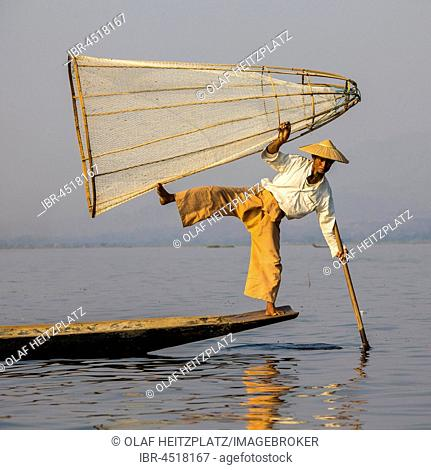 Leg rowing style, Intha fishermen on Inle Lake, Myanmar