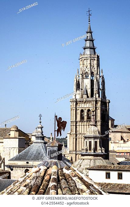 Spain, Europe, Spanish, Toledo, World Heritage Site, historic center, rooftops, belltower, steeple, Primate Cathedral of Saint Mary of Toledo