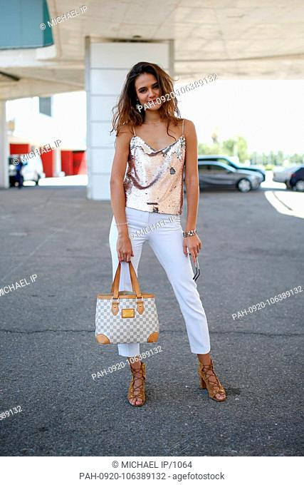 Yamile Landrian posing on the street during Mercedes Benz Fashion Week Madrid - July 9, 2018 - Photo: Runway Manhattan ***For Editorial Use Only***   Verwendung...