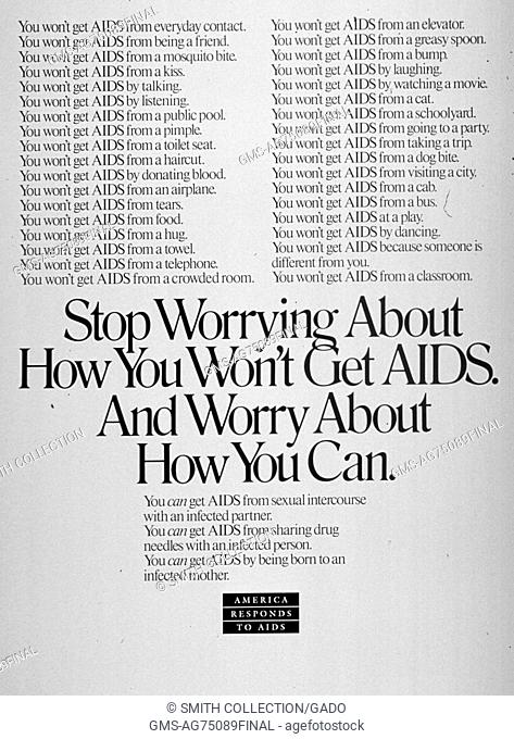 Public health poster regarding Acquired Immune Deficiency Syndrome (AIDS)/Human Immunodeficiency Virus (HIV), 1990. Image courtesy National Library of Medicine