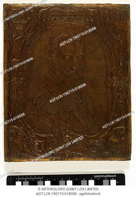 Portrait of King Gustav Adolf II of Sweden, Portrait of King Gustav Adolf II of Sweden in elevated gold leather crowned with a laurel wreath