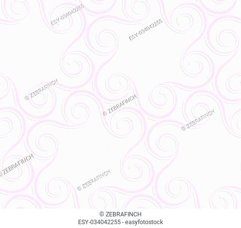 Seamless geometric background. Pattern with realistic shadow and cut out of paper effect.Colored.3D colored pink spirals in circle