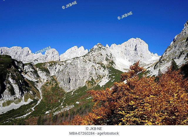 Austria, Tyrol, Wilder Kaiser, Treffauer, Ellmauer Halt, Karlspitze, Ellmauer Tor, landscape
