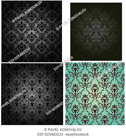 Damask seamless vector pattern set. For easy making seamless pattern just drag all group into swatches bar, and use it for filling any contours