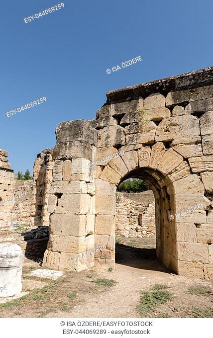Martyrion of Saint Philip, ancient ruins in Hierapolis, Pamukkale, Turkey. UNESCO World Heritage
