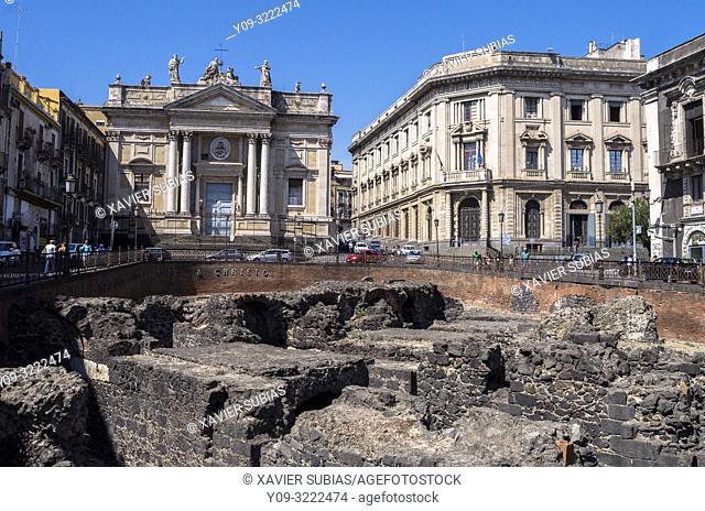 Church San Biagio, Roman amphitheatre, Stesicoro square, Catania, Sicily, Italy