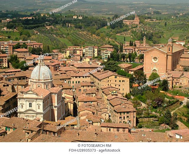 Siena, Italy, Tuscany, Toscana, Europe, Aerial view of the city of Siena from Torre del Mangia