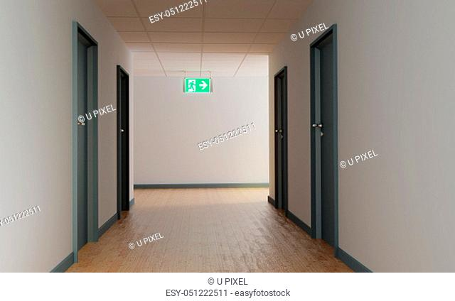 Corridor with an escape route and shield for the emergency exit to the right