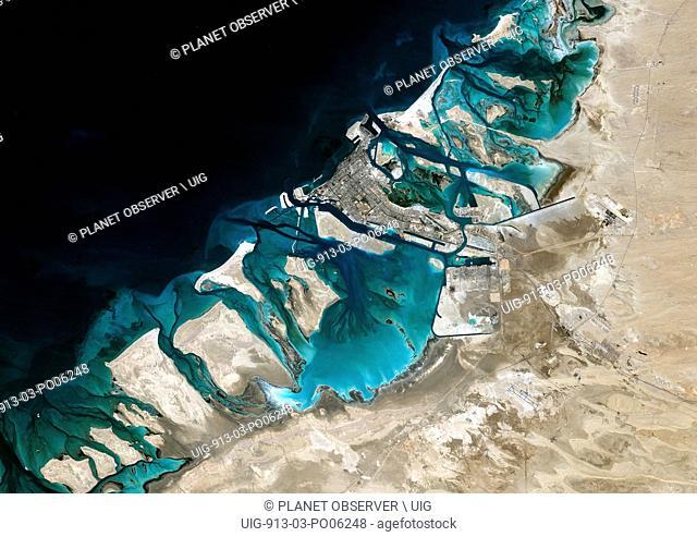 Satellite image of Abu Dhabi, United Arab Emirates, taken on February 2, 1985 by the satellite Landsat 5. The territory covered is 78 km x 55 km