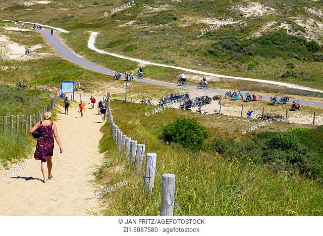 sandy path over the dunes to the sea at Meyendel, Holland
