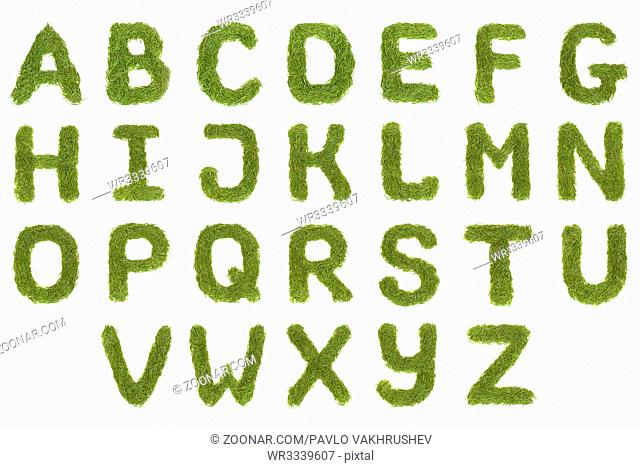 Green alphabet A-Z font letters isolated on white background. High resolution