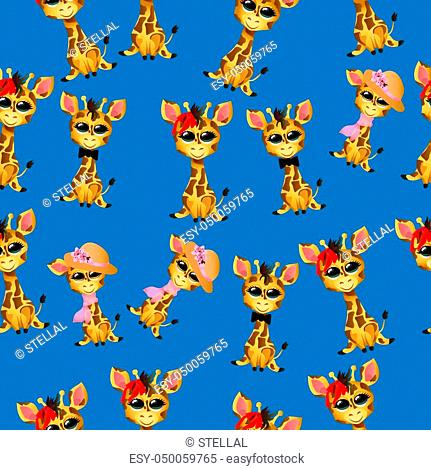 Very high quality original trendy vector seamless pattern with cute giraffe baby or calf with tie