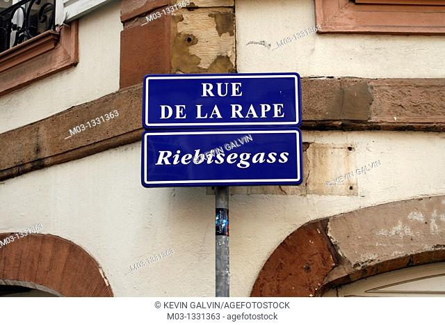 Street signs in French and German, Strasbourg, Alsace, France