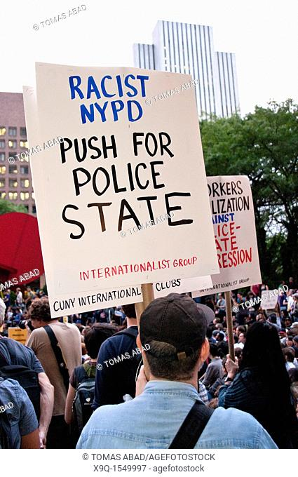 September 30, 2011, Downtown Manhattan, One Police Plaza near City Hall, Occupy Wall Street is an ongoing series of demonstrations in New York City