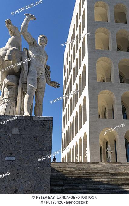 The Palazzo della Civilta del Lavoro, designed in 1937 by Marcello Piacentini, for the Esposizione Universale Roma or EUR, Rome, Italy