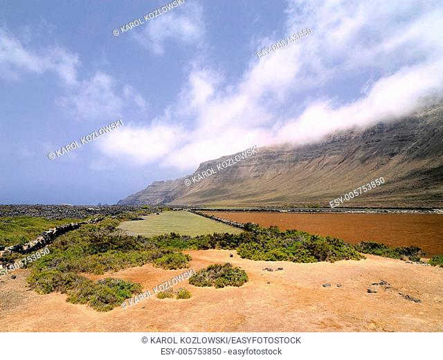 Famara Cliffs and Salinas del Rio on the island Lanzarote, Canary Islands, Spain