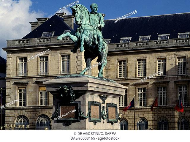 Napoleon's equestrian statue in front of the town hall in Rouen, Normandy, France