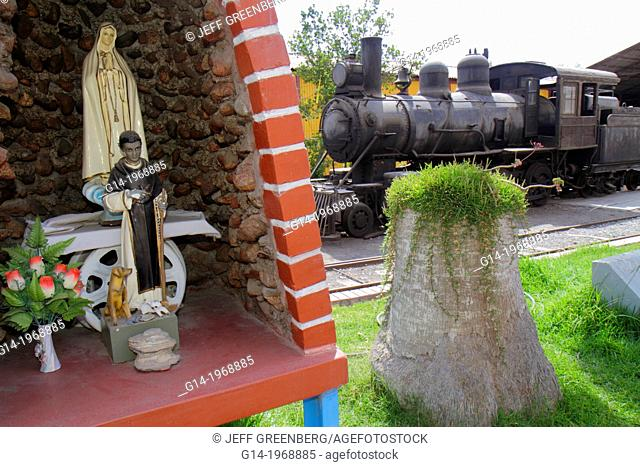 Peru, Tacna, Avenida Cusco, Estacion Ferroviaria, railroad museum, train, locomotive, steam engine, exhibit, grotto, shrine, Catholicism, saint, statue, virgin