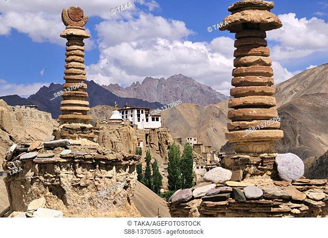 View of Lamayuru village  On top of the hill is Lamayuru Temple