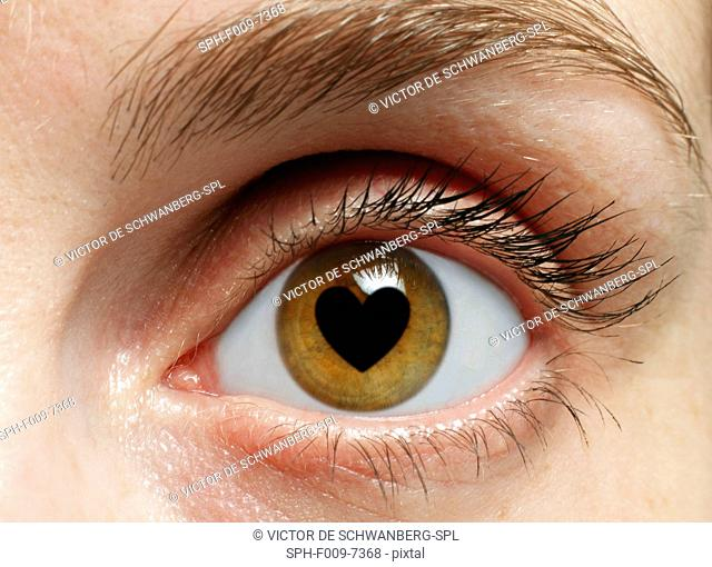 MODEL RELEASED. Eye with heart, composite image