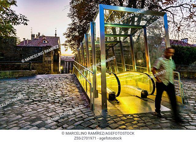 Escalators in the old town, historic center. Vitoria-Gasteiz, Álava, Basque Country, Spain, Europe