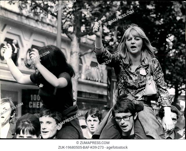 May 05, 1968 - Over 200,000 Workers Demonstrates In Paris Some 200,000 CGT workers (Communist-led General Labour Confederation) marched from the Bastille to...