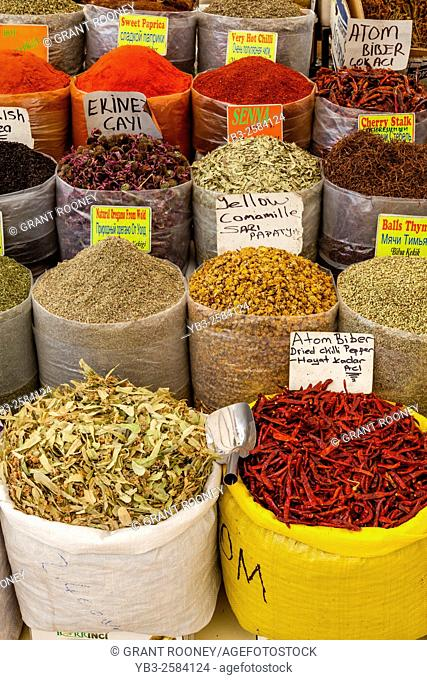 Spice Stall At The Monday Market In Turunc near Marmaris, Mugla Province, Turkey