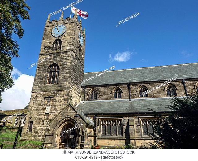 George Cross Flying at St Michael and All Angels Parish Church at Haworth West Yorkshire England