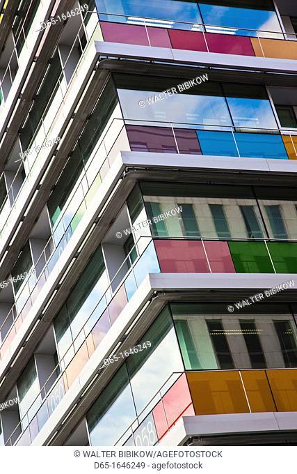 Spain, Madrid, Northern Area, Paseo de la Castellana, colorful office building