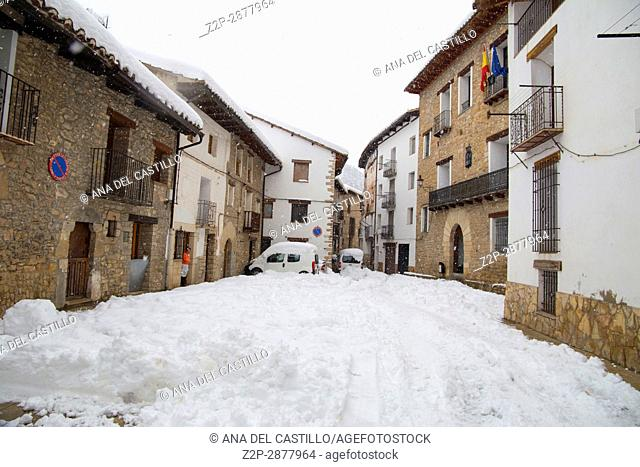 Beautiful winter mountains landscape Gudar sierra Teruel Aragon Linares de Mora is one of the most beautiful villages in Spain